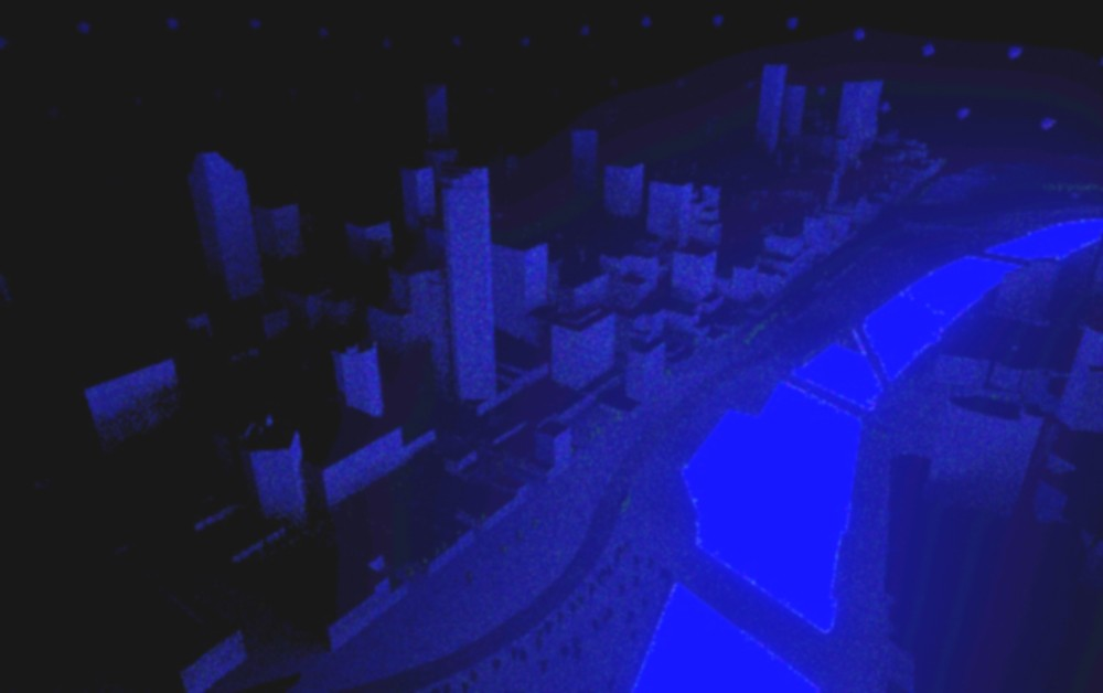 A computer-generated image of a city and the river in front of it, shown in blue