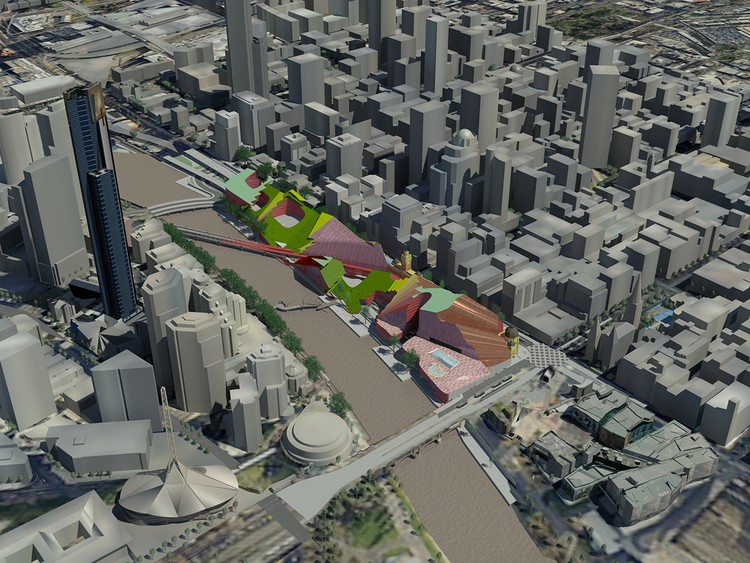 A computer-generated image of the Melbourne CBD showing the Yarra River in the middle and with the Flinders Street station design in colour.