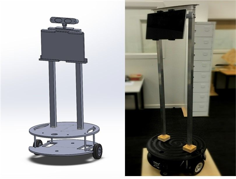 Image shows a cloud robotic device on wheels featuring a tablet screen.
