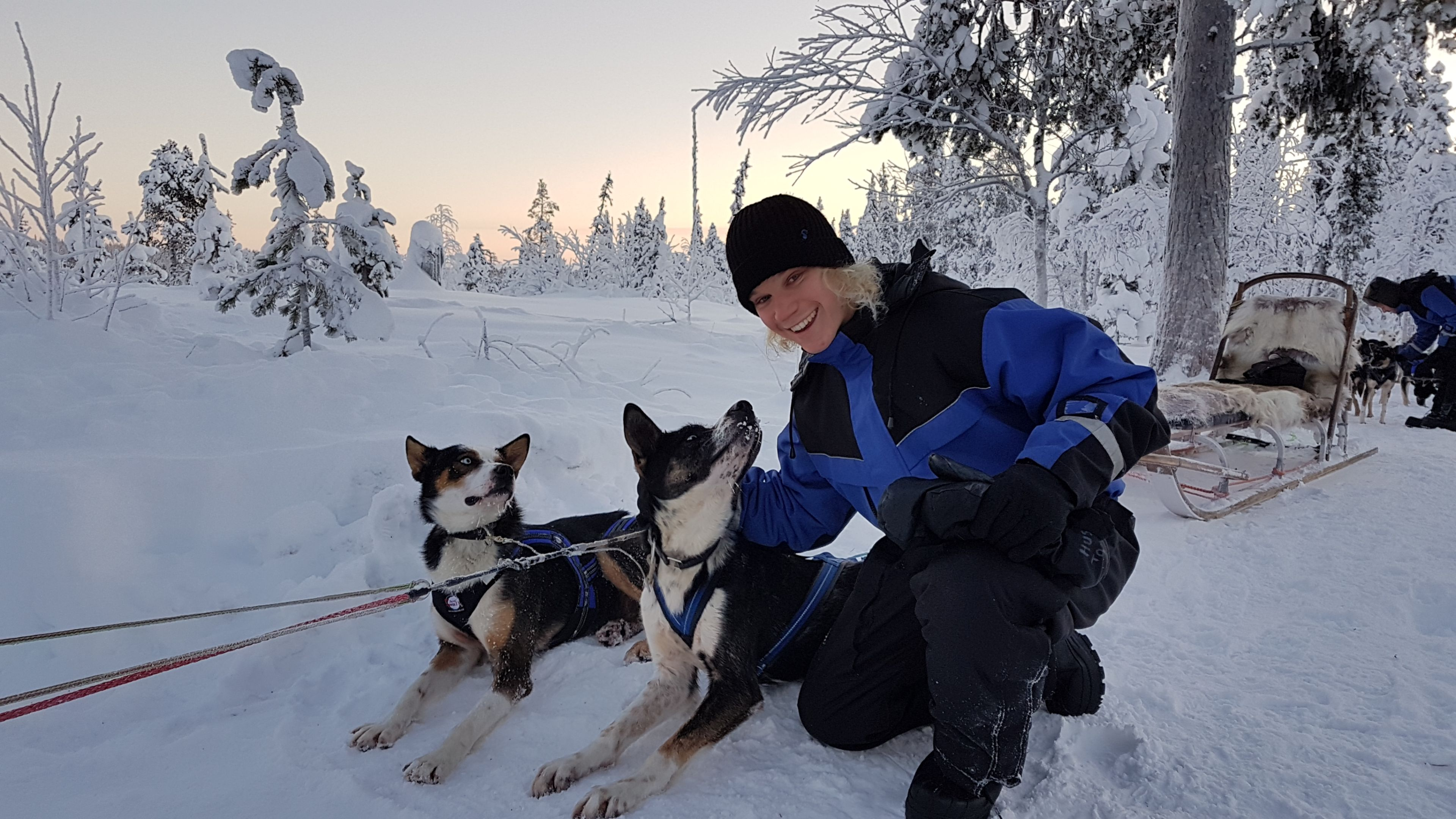 Study Abroad student smiling a camera in snow covered Sweden with a dog sled in background