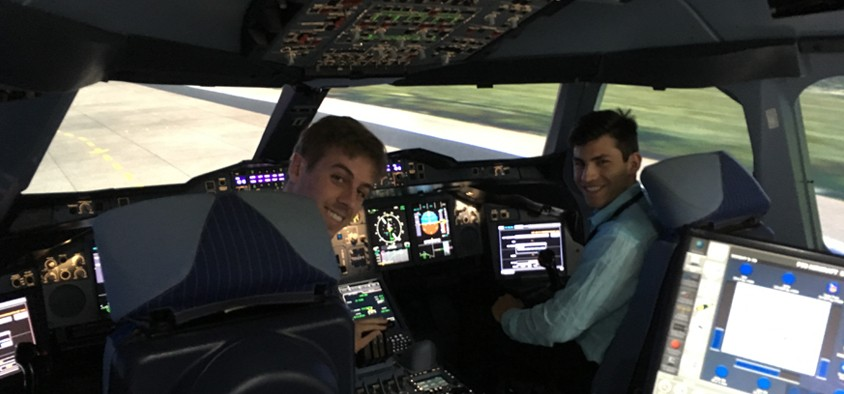 Airbus A350 simulator, Toulouse, France.