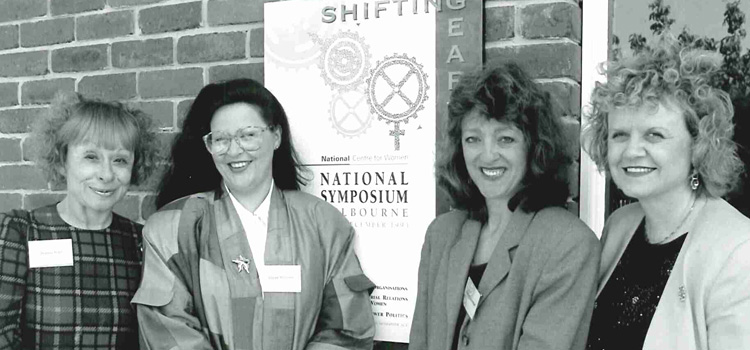 Jeanne Pratt (left) attended Swinburne's National Centre for Women 'Shifting Gear' symposium, aimed at promoting equity for women in non-traditional areas, December 1993.