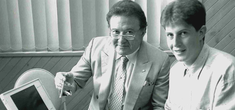 L–R: Chancellor Richard Pratt and John Armstrong, first-year Bachelor of Applied Sciences Student and one of the winners of the Pratt Foundation Scholarship, February 1994.