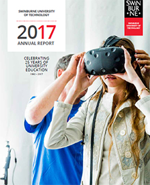 Front cover of the Swinburne 2017 Annual Report.