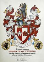 the basic colours of red and white, and the cinquefoils on the shield, commemorate the arms of the Swinburne family. The four mullets in the cross symbolise the Southern Cross.