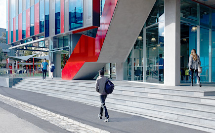 Image of students walking in front of the George Swinburne building on the Hawthorn campus at Swinburne University.