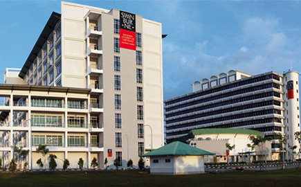 Image of the Swinburne University Sarawak campus in Malaysia, front entrance.