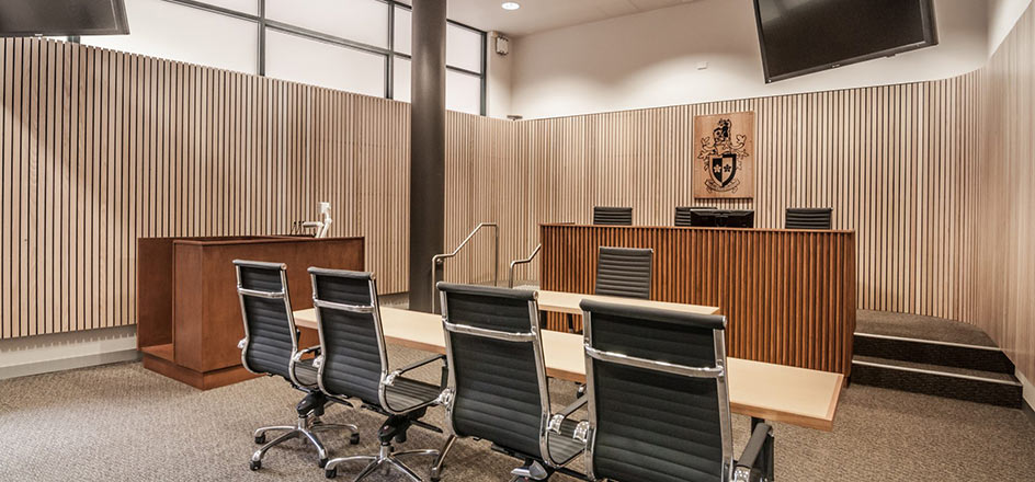 The interior of Swinburn's Moot Courtroom.