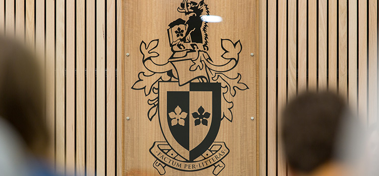 Emblem in Swinburne's moot court