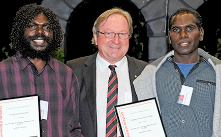 Indigenous students Jasper and Jason with Kevin Sheedy at Swinburne's Apprentice of the Year Awards