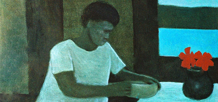 Girl at table, Thursday Island, 1968. Oil on canvas. Artist: Ray Crooke