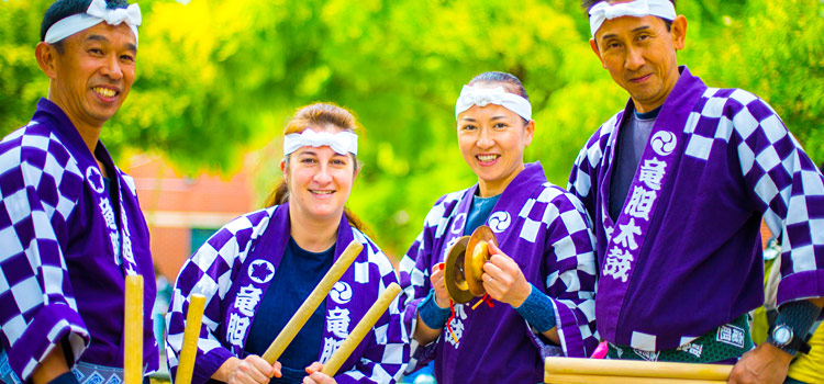 Members of a Japanese taiko drumming performance group