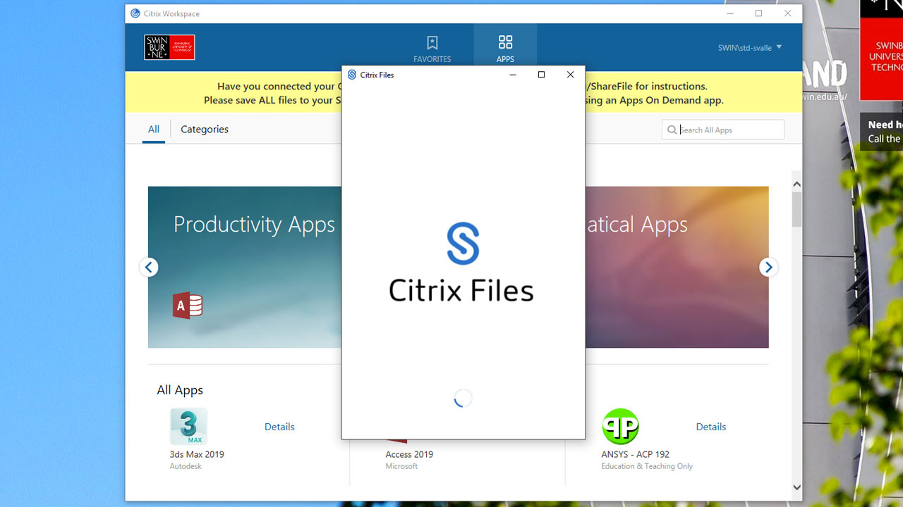 Apps on Demand | Citrix Workspace | Swinburne University | Melbourne