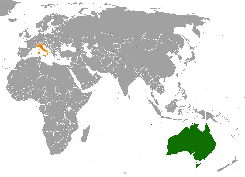 January new italian migrants to australia survey swinburne world map highlighting italy and australia gumiabroncs Choice Image