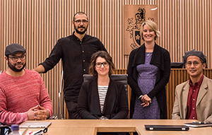Dr Ezieddin Elmahjub, Dr Jake Goldenfein, Dr Amanda Scardamaglia, Dr Jessica Lake and Dr Jonathan Liljeblad in the Swinburne Moot Court.