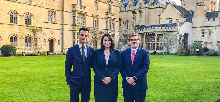 Katrina Davis, Josh Firmin and Jake Boudsocq were accepted to compete in the Oxford Intellectual Property Moot.