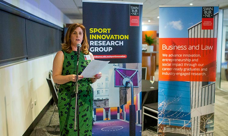 Event: Sport Innovation Research Group Launch - Emma Sherry speaking to the attendees