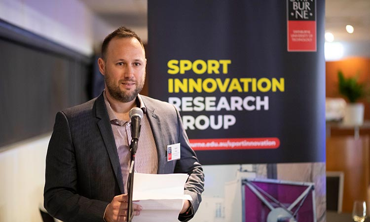 Event: Sport Innovation Research Group Launch - Adam Karg addressed the attendees