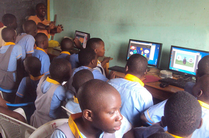Students in class at the Kasese Humanist Primary School in Uganda