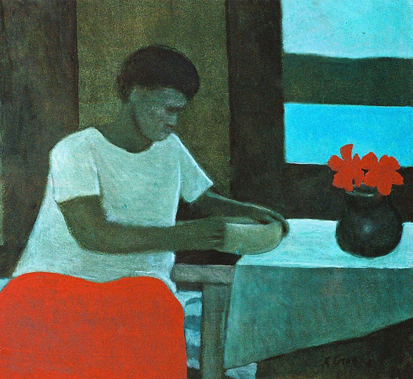 Ray Crooke, artist, Diploma of Arts (Oil on canvas: Girl at table, Thursday Island, 1968)