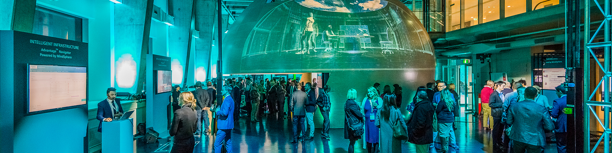 An image of people within the Factory of the Future during the MindSphere launch event.