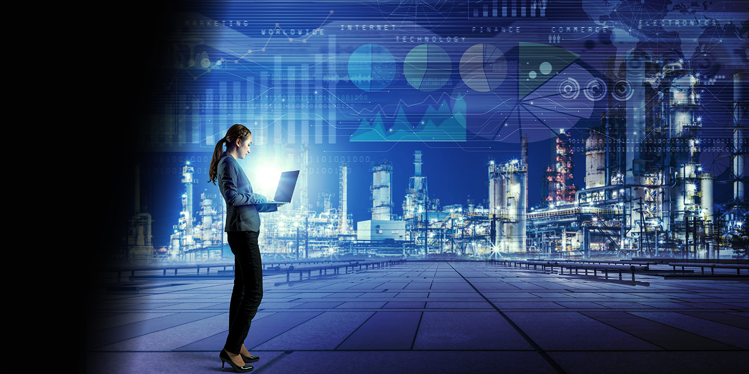 A woman on a laptop with a digital cityscape in the background representing a digitised future.
