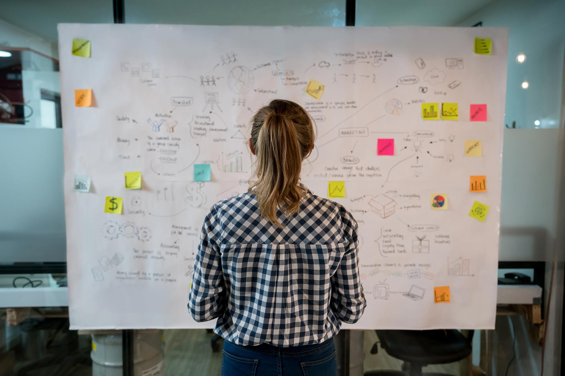 Woman viewing a working board on the wall full of brainstormed ideas and sticky note pad squares.
