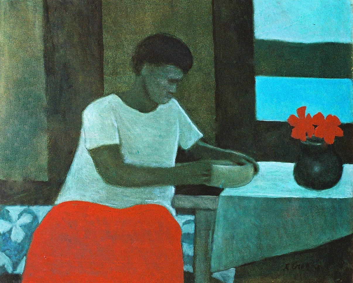 Girl at Table, Thursday Island by Ray Austin Crooke (1922 - )