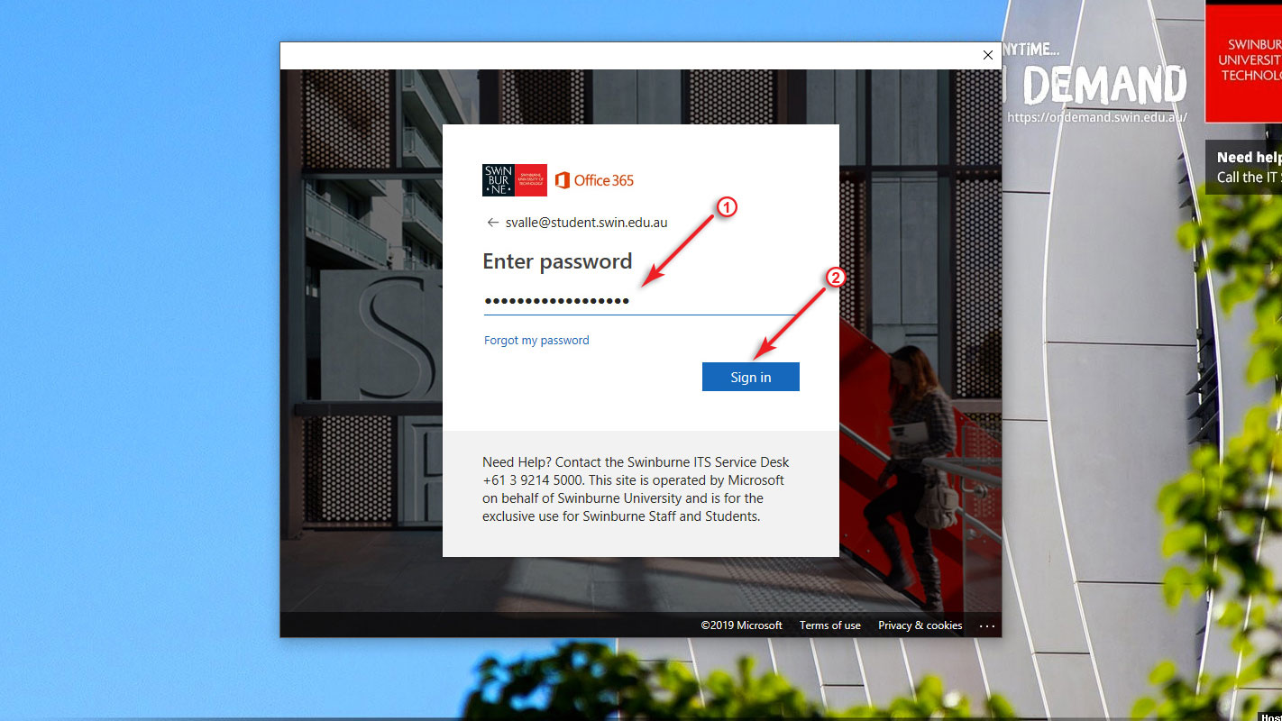 Step 4 screenshot: When prompted, enter your password and click on the Sign In button.