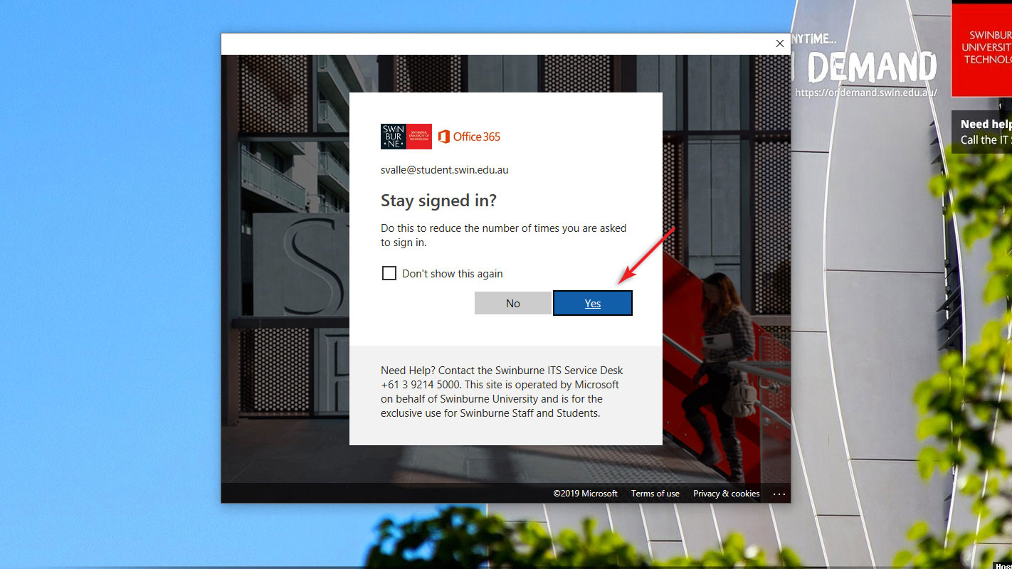 Step 5a screenshot: Select either Yes or No to stay signed in to Office 365.