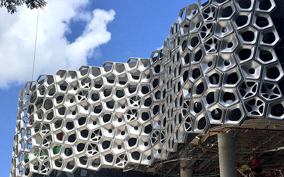 The Sound That Light Makes art façade under construction, by Dr Canhui Chen and Alex Knox.