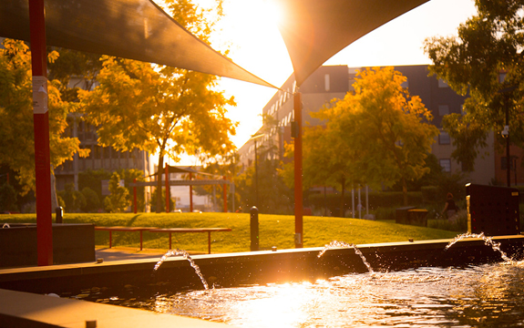 the sun sets at Swinburne's Hawthorn campus and light reflects off the fountain