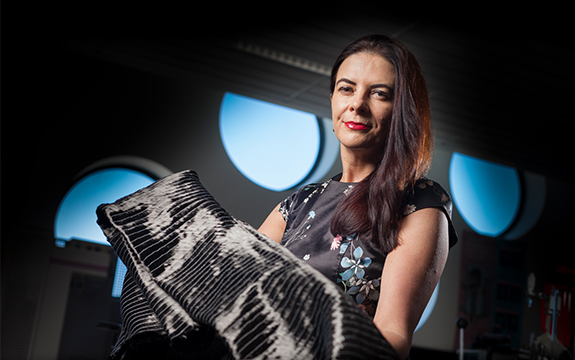 Professor Bronwyn Fox with graphene material
