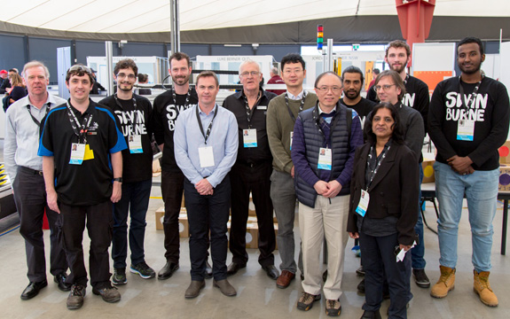 A group of Swinburne and staff stand together at World Skills Day