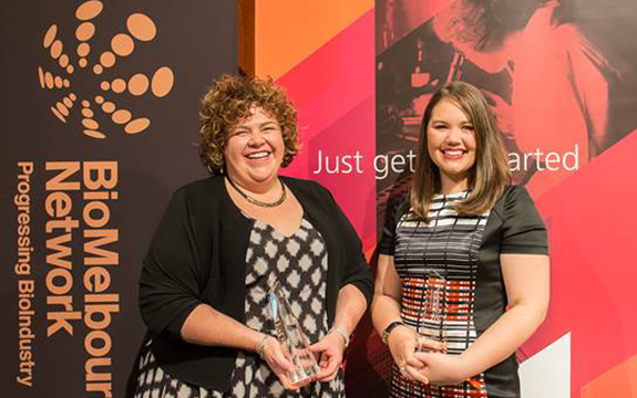 sally mcarthur and jacqui savage presented awards at the BioMelbourne Network Awards