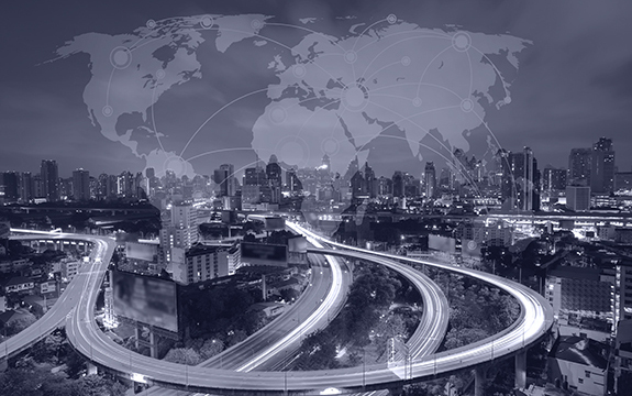 black and white graphic of city with freeway network