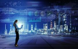 woman holding laptop in futuristic connected city scene