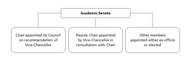 Membership of the Academic Senate is made up of a Chair appointed by Council on the recommendation of the Vice-Chancellor, Deputy Chair appointed by the Vice-Chancellor in consultation with the Chair and other members appointed either ex officio or elected.