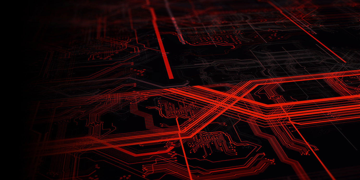 A red digital wireframe rendering of a circuit-board on a black background.