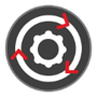 Gear icon with revolving arrows.