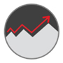 Icon showing a graph with a red arrow pointing up.