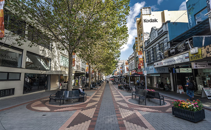 A photograph of a small commercial, pedestrian only street lined up with stores and public seating circling trees.