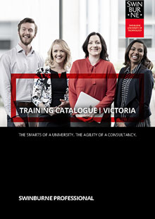 Brochure cover for Swinburne professional training catalogue.