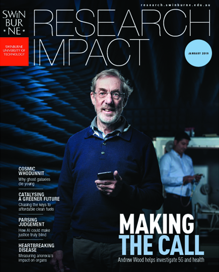 Swinburne's Research Impact magazine 2018 front cover.