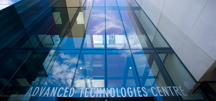 A close up shot of the Advanced Technologies Centre's (ATC) entrance at Swinburne's Hawthorn campus.