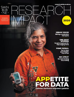 The front cover of the 2020 Research Impact Magazine, depicting Nilmini Wickramasinghe holding a digital device.