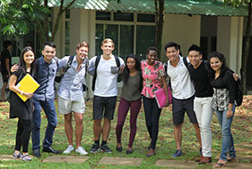 A group of local and international students having fun on the Swinburne Sarawak campus, Malaysia