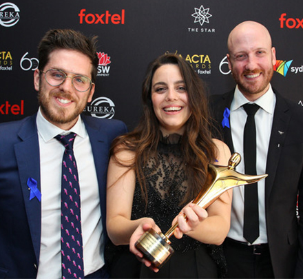 Bradley Slabe and Andrew Goldsmith AACTA winners 440x405