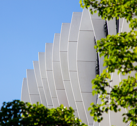 AMDC exterior fins with trees in foreground