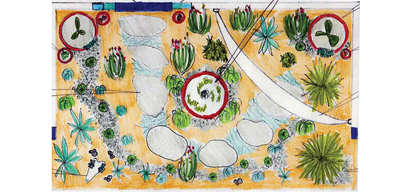 The plan for a Mexican-influenced garden, Rancho Relaxo, designed by Vivian Scapari, a Diploma of Horticulture student.